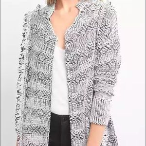 Excellent gap fringed open front cardigan